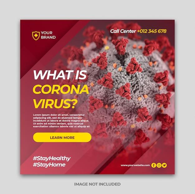 Baner coronavirus dla szablonu postu na portalu społecznościowym