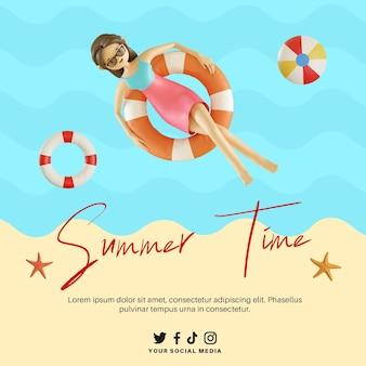 Baner czasu letniego z postacią 3d kobiety unoszącej się na plaży za pomocą boi ratunkowej