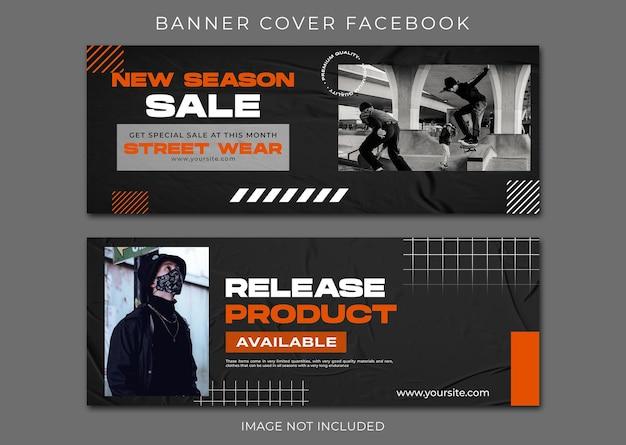 Baner facebook okładka miejski szablon zestawu mody