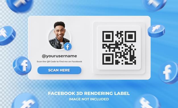 Baner ikona profilu na facebooku etykieta renderowania 3d na białym tle .