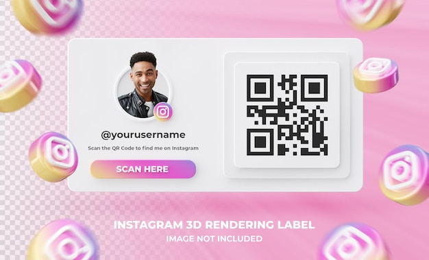Baner ikona profilu na instagramie 3d renderowania etykieta na białym tle