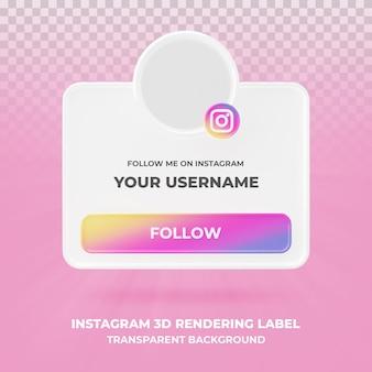 Baner ikona profilu na instagramie 3d renderowania transparent na białym tle