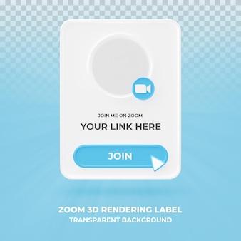Baner ikona profilu na powiększenie 3d renderowania transparent na białym tle