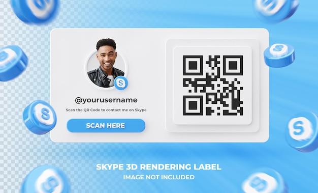 Baner ikona profilu na skypie etykieta renderowania 3d na białym tle