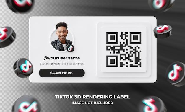 Baner ikona profilu na tiktok 3d renderowania etykieta na białym tle .