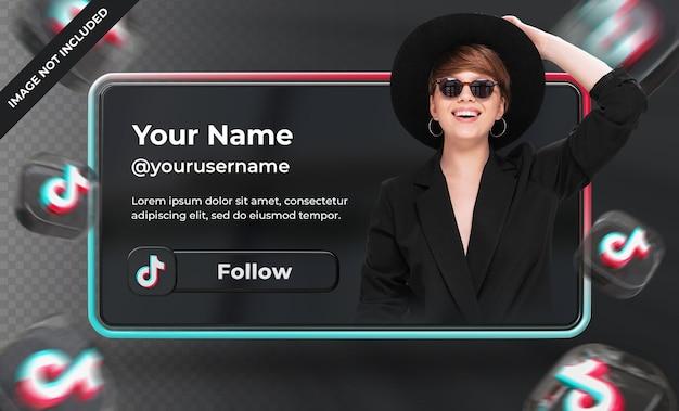 Baner ikona profilu na tiktok 3d renderowania etykieta na białym tle