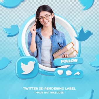 Baner ikona profilu na twitterze etykieta renderowania 3d na białym tle