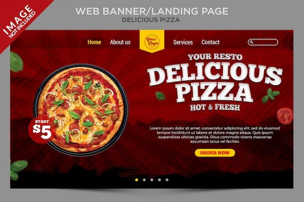 Baner internetowy delicious pizza lub seria szablonów strony docelowej