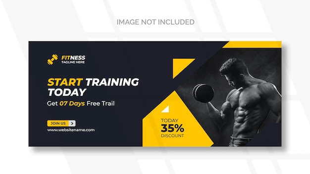 Baner internetowy fitness lub szablon mediów społecznościowych