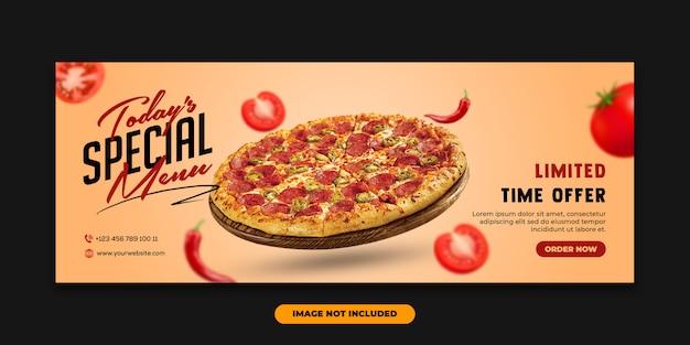 Baner internetowy szablon okładki na facebook specjalna pizza z jedzeniem