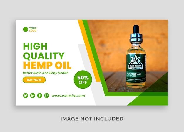 Baner internetowy z naturalnym olejem konopnym cbd lub szablon postu w mediach społecznościowych