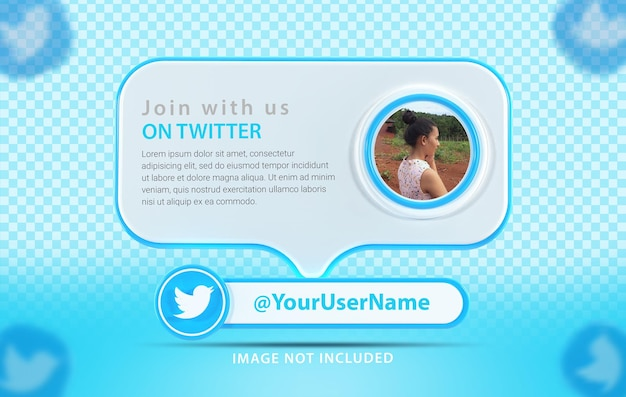 Baner makieta profilu z ikoną twitte renderowania 3d
