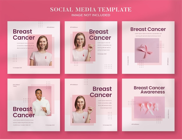 Baner mediów społecznościowych miesiąca świadomości raka piersi i szablon postu na instagramie