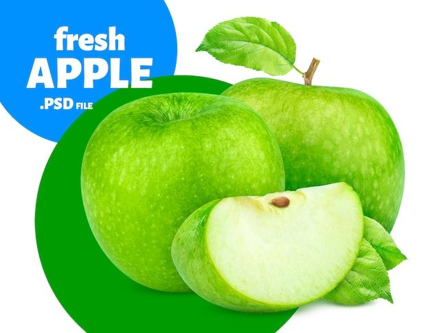Baner na białym tle owoce zielone jabłko