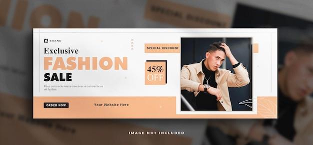 Baner na sprzedaż mody w mediach społecznościowych i szablon banera na okładkę na facebooku z czystą makietą