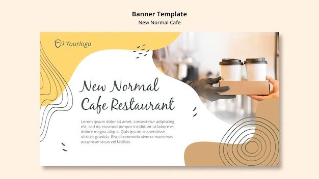Baner nowy normalny szablon reklamy kawiarni