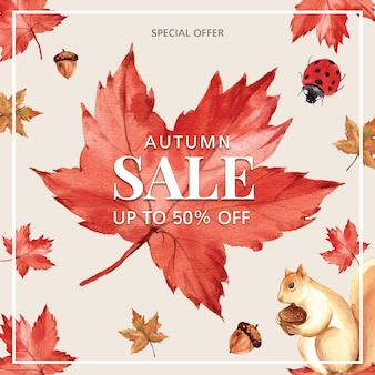 Baner o tematyce jesień z ramką