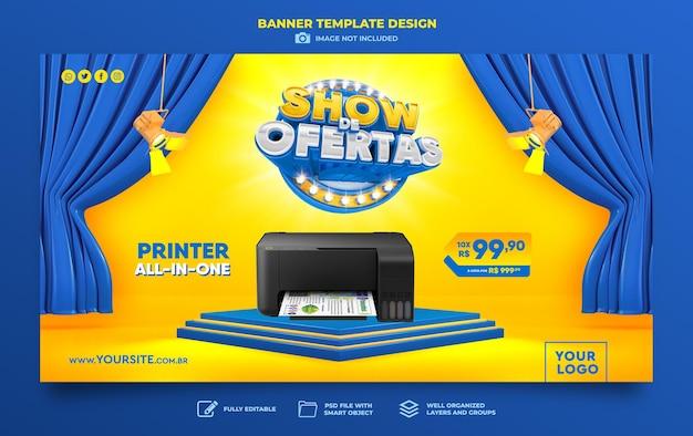 Baner oferta pokaż w renderowaniu 3d brazylijski szablon projektu marketing
