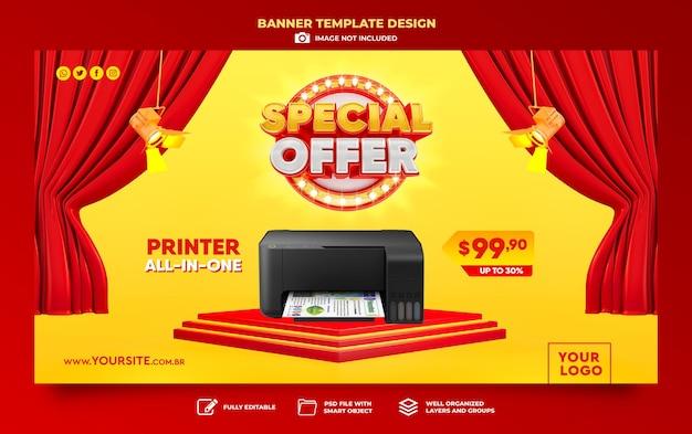Baner oferta specjalna sprzedaż 3d render szablon projekt marketing