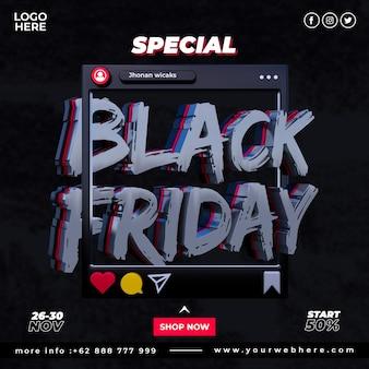 Baner oferta specjalna szablon postu w mediach społecznościowych black friday