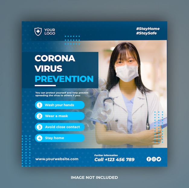 Baner opieki zdrowotnej lub kwadratowa ulotka z motywem zapobiegania wirusom dla szablonu postów w mediach społecznościowych