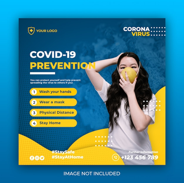 Baner opieki zdrowotnej z motywem zapobiegania wirusom