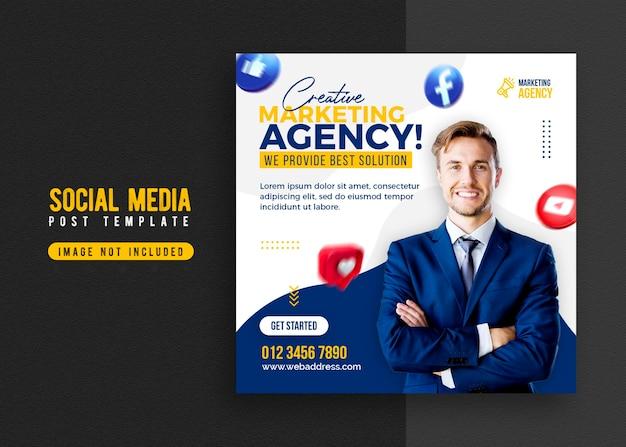 Baner promocji firmy i szablon postu w mediach społecznościowych firmy
