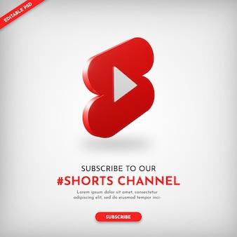 Baner promocyjny kanału szorty youtube z ikoną 3d