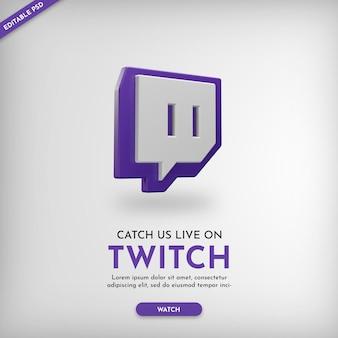Baner promocyjny kanału twitch z ikoną 3d