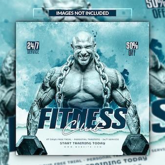 Baner promocyjny na siłownię i fitness lub szablon postu w mediach społecznościowych