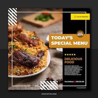Baner restauracji i menu żywności media społecznościowe