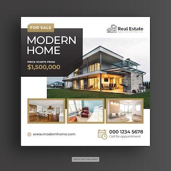 Baner społecznościowy nowoczesnej sprzedaży domu