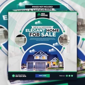 Baner sprzedaży domu nieruchomości lub szablon postu w mediach społecznościowych