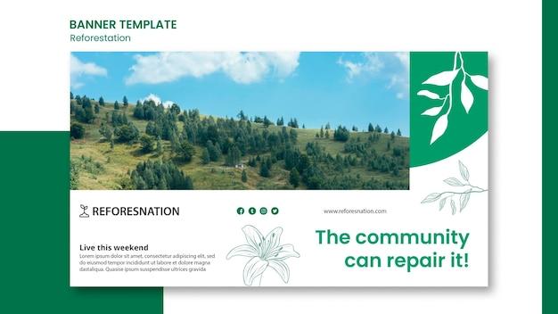 Baner szablonu reklamy ponownego zalesiania