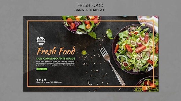 Baner szablonu reklamy świeżej żywności