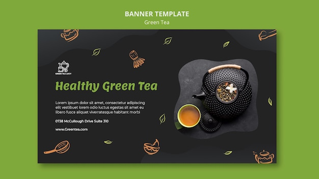 Baner szablonu reklamy zielonej herbaty