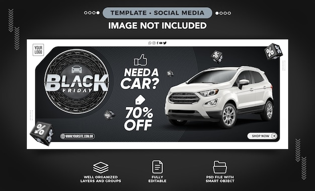 Baner w mediach społecznościowych czarny piątek nowoczesny wynajem samochodów