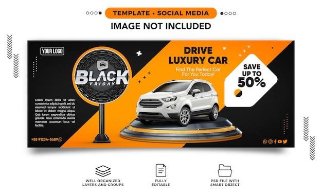 Baner w mediach społecznościowych na instagramie czarny piątek na wynajem samochodów