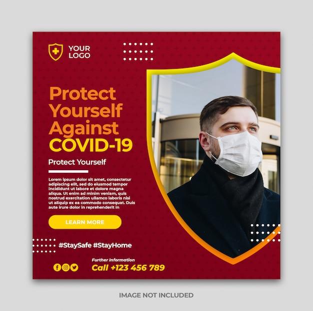 Baner zapobiegający coronavirus lub covid-19 lub kwadratowa ulotka dla szablonu posta na instagramie w mediach społecznościowych