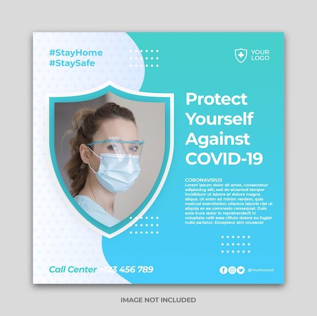 Baner zapobiegający koronawirusem lub kwadratowa ulotka dla szablonu postu instagram w mediach społecznościowych