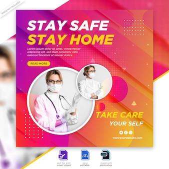 Baner zdrowia medycznego o koronawirusie covid-19, szablon baneru społecznościowego instagram post banner