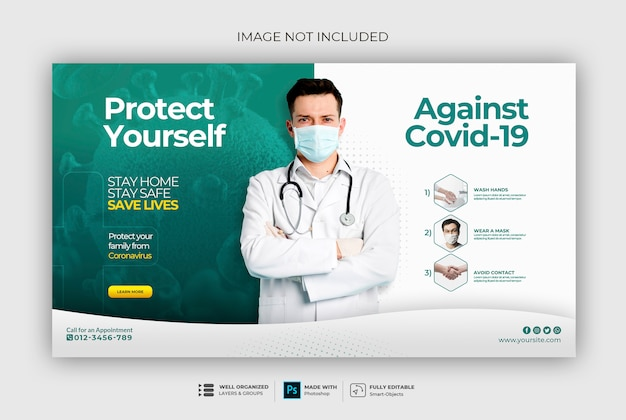 Baner zdrowia medycznego o szablon transparent web coronavirus