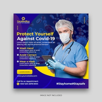 Baner zdrowia medycznego o wirusie koronowym, banner społecznościowy
