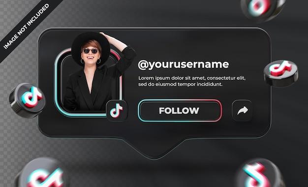 Banner ikona profilu na tiktok 3d renderowania etykieta na białym tle