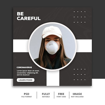 Banner instagram social media post szablon dziewczyna z maską