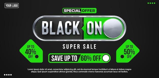 Banner oferta specjalna czarny piątek super wyprzedaż ze wspaniałymi rabatami