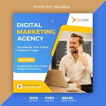 Banner promocji marketingu cyfrowego dla szablonu postów w mediach społecznościowych