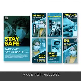Banner story instagram bądź bezpieczny szablon kolekcji psd