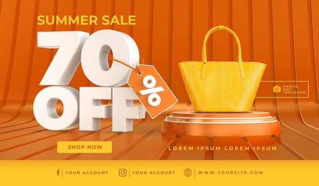 Banner summer sale 70 off szablon projektu renderowania 3d
