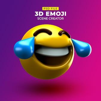 Bardzo szczęśliwy emoji 3d z twarzą i łzami radości